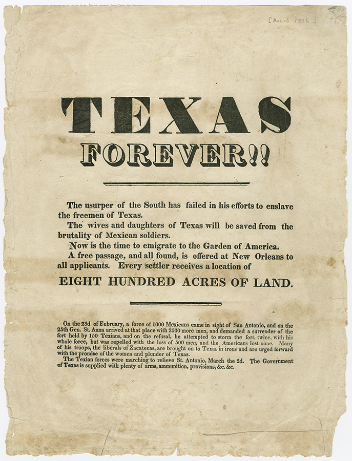 Texas Forever!!, March 1836. Broadside Collection. BC_0248