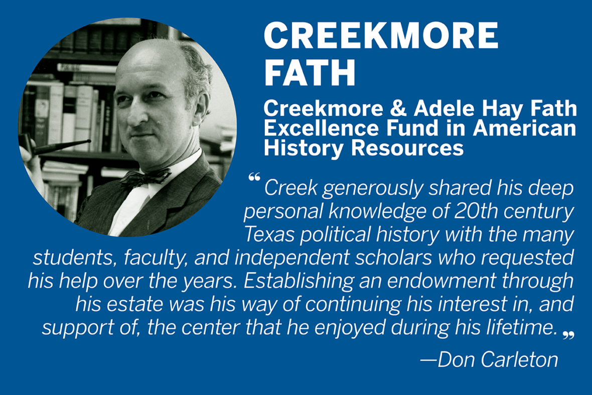 "Quote from Don Carleton on Creekmore Fath, who established the Creekmore and Adele Hay Fath Excellence Fund in American History Resources. ""Creek generously shared his deep personal knowledge of 20th century Texas political history with the many students, faculty, and independent scholars who requested his help over the years. Establishing an endowment through his estate was his way of continuing his interest in, and support of, the center that he enjoyed during his lifetime."""