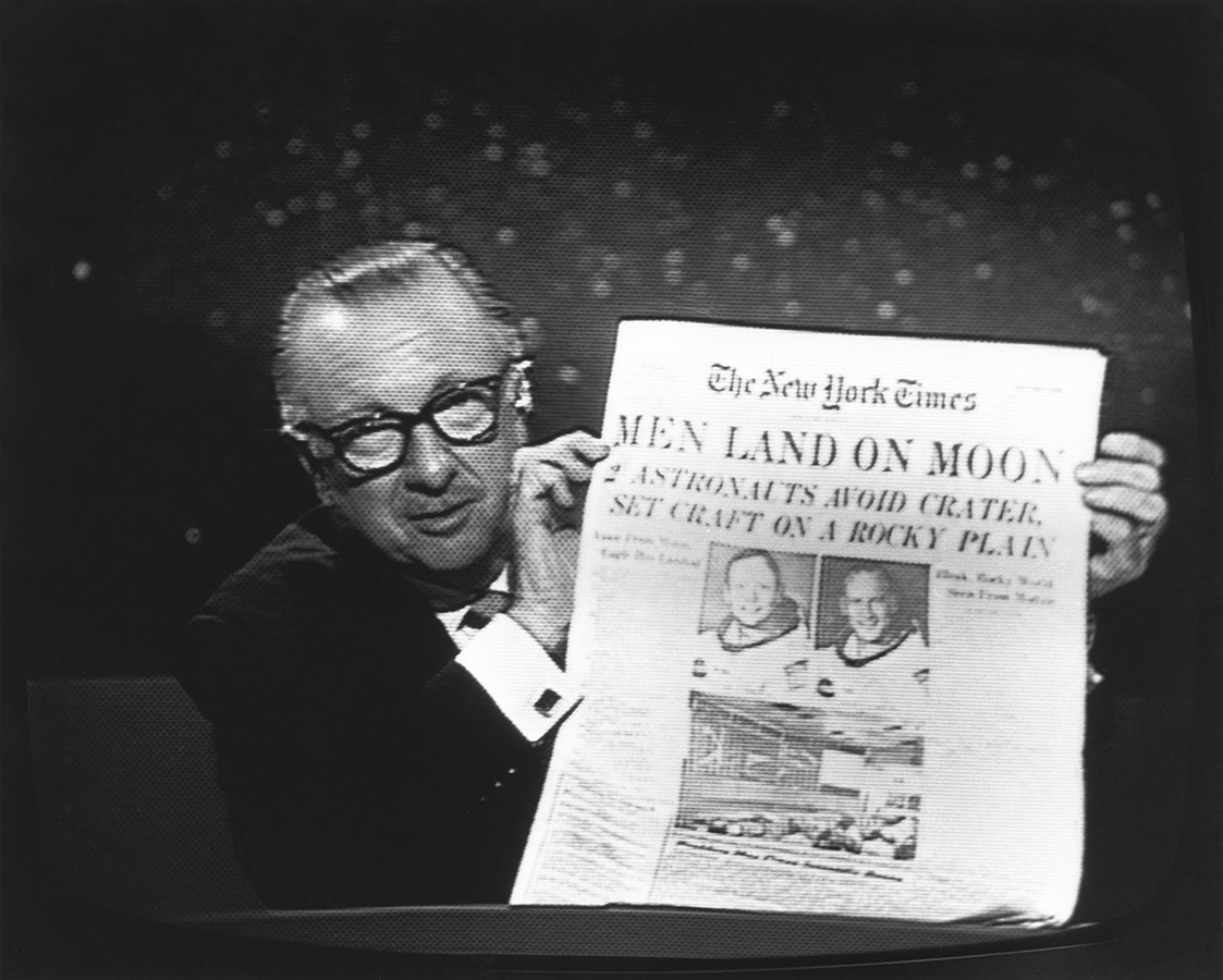 Walter Cronkite reporting on moon landing for CBS News, July 20,1969. Walter Cronkite Papers. di_05887