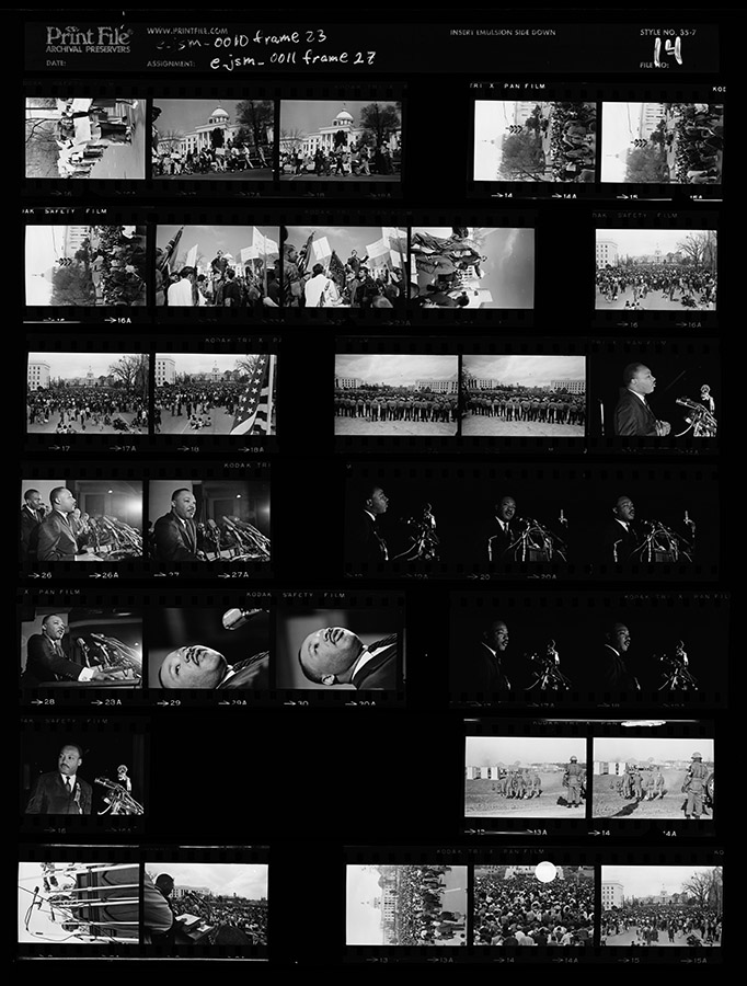 "Contact sheet 14 shot during the voting rights march from Selma to Montgomery, Alabama, March 1965. James ""Spider"" Martin Photographic Archive. e_jsm_0077"