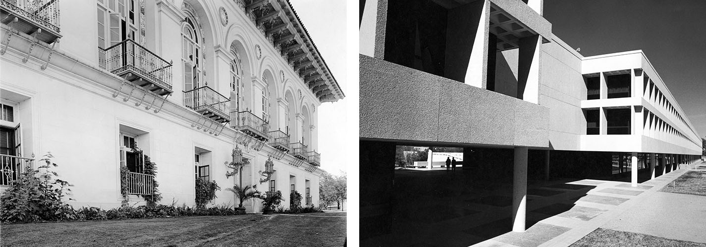 (Left) Old library building (Battle Hall), February 1962. Prints and Photographs Collection. di_02600 (Right) Sid Richardson Hall, January 20, 1970. Prints and Photographs Collection. di_00782