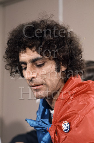 Abbie Hoffman—HUAC [House Un-American Activities Committee], October 1968. Wally McNamee Photographic Archive. e_wm_0143