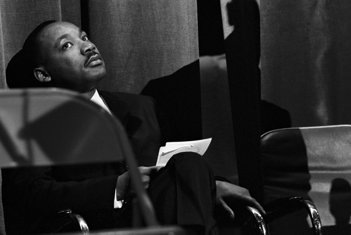 Martin Luther King Jr. in a moment of relaxation before his speech at the Municipal Auditorium in Savannah, Georgia during the Civil Rights movement, January 1964. Photograph by Frederick Baldwin. Frederick Baldwin and Wendy Watriss Collections. CR 12