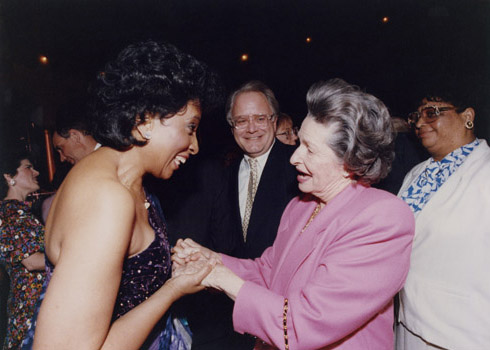 Barbara Smith Conrad wishes Lady Bird Johnson a happy 75th birthday.