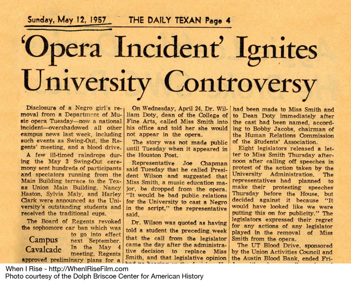 Headline from the University of Texas Daily Texan newspaper, May 12, 1957. Courtesy of the Briscoe Center for American History