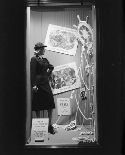 'Buy Bonds' and 'WAVES' window for Sears and Roebuck, no. 6551, Houston, Texas, June 1, 1943. Bob Bailey Studios Photographic Archive. e_bb_6105