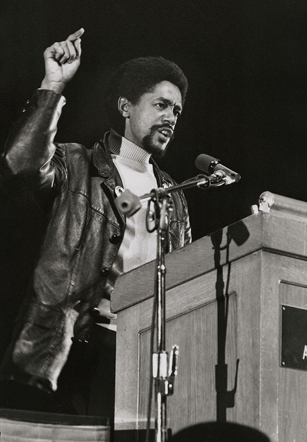 Bobby Seale speaks at the United Front Against Fascism conference at the Oakland Auditorium, Oakland, California, 1969. Stephen Shames Photographic Archive. e_shames_0002